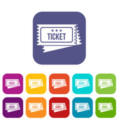 Circus show tickets icons set vector