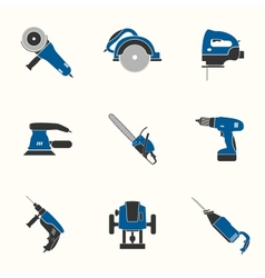 Electric tool flat icons set vector image
