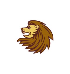Lion Big Cat Head Woodcut vector image vector image