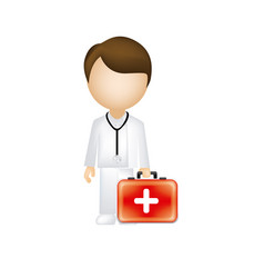 man doctor with suitcase icon vector image vector image