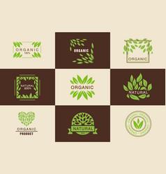 organic product logo template set natural vegan vector image vector image