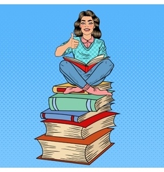 Pop art woman sitting on books and reading book vector