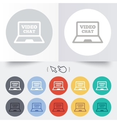 Video chat laptop sign icon Web communication vector image vector image