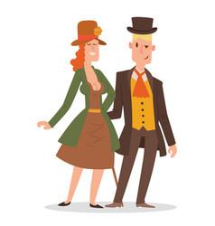 vintage victorian cartoon gents retro people vector image