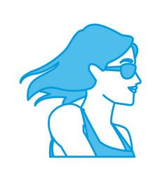 woman head witn sunglasses vector image