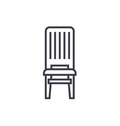 wooden chair line icon sign vector image