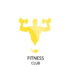 yellow fitness club icon vector image vector image