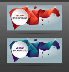 3d crystal colorful shapes banner vector image
