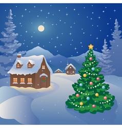 Christmas mountain village vector image vector image