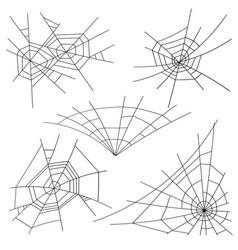 halloween spider web set black spider web vector image