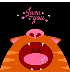 Love you open cat mouth vector