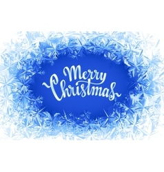 Merry Christmas Lettering in ice frame vector image vector image