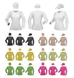 plain female long sleeve shirt template on white vector image vector image