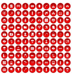100 natural disasters icons set red vector