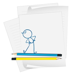 A paper with a drawing of a boy exercising vector image