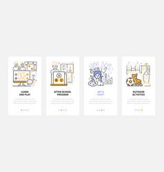 Activities for kids - line design style web vector