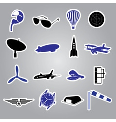 aeronautical icons stickers eps10 vector image