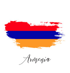 armenia watercolor national country flag icon vector image