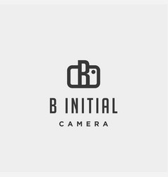 B initial photography logo template design vector