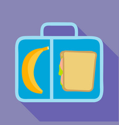 banana sandwich lunchbox icon flat style vector image