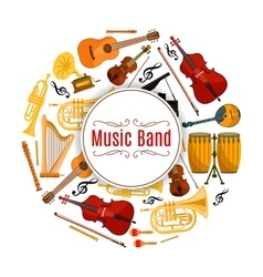 Banner with string and brass music instruments vector image