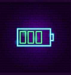 Battery neon label vector