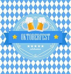 Beer festival oktoberfest badge on blue rhombus vector