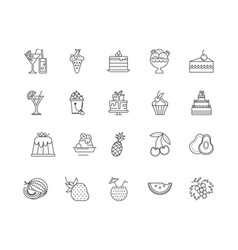 berries line icons signs set outline vector image