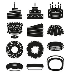 black and white 12 dessert icon silhouette set vector image