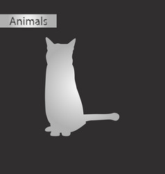 black and white style icon of cat vector image