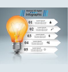 bulb light paper infographic vector image