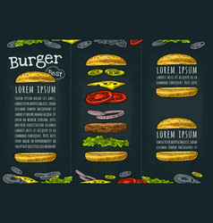 Burger with flying ingredients on white background vector