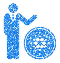 Businessman show cardano coin icon grunge vector