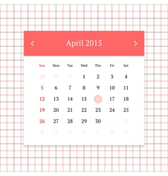Calendar page for April 2015 vector