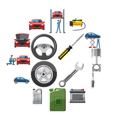 car service icons set in cartoon style vector image