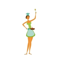 Cartoon woman cooking isolated vector image