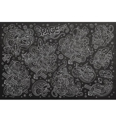 Chalkboard hand drawn doodles cartoon set vector image
