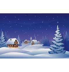Christmas night village vector