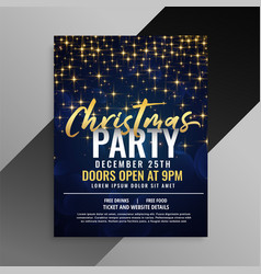 christmas party sparkles flyer template design vector image