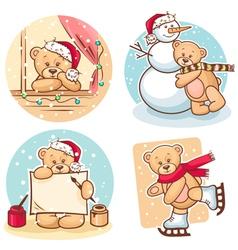 Christmas teddy bears vector