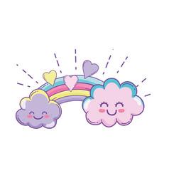 Clouds and rainbow cute cartoon vector