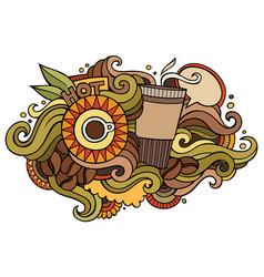coffee hand drawn cartoon doodles vector image