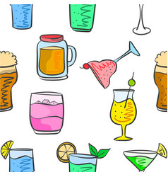 Collection drink various pattern style vector