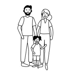 couple with child black and white vector image
