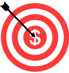 Darts icon with target icon dollar vector image
