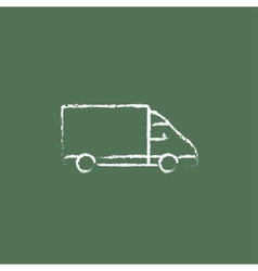 Delivery truck icon drawn in chalk vector image