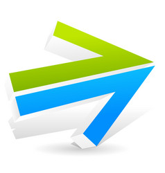 Double arrow pointing right with fresh colors vector