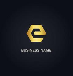 e initial gold logo vector image