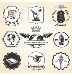 Education school academy university vintage symbol vector image
