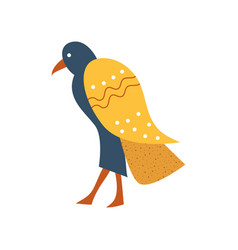 Falcon blue bird with golden wings symbol of vector